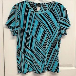 Brittany Black Blouse Size XL Geometric Print